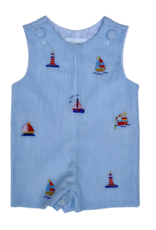 Zuccini Seersucker Thin Stripe Sailboat Shortall