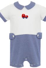 Petit Bebe Royal Blue Stripe Knit Firetruck Bubble