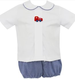 Petit Bebe Royal Blue Stripe Knit Firetruck Diaper Set