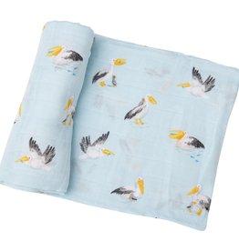 Angel Dear Pelicans Swaddle Blanket Blue