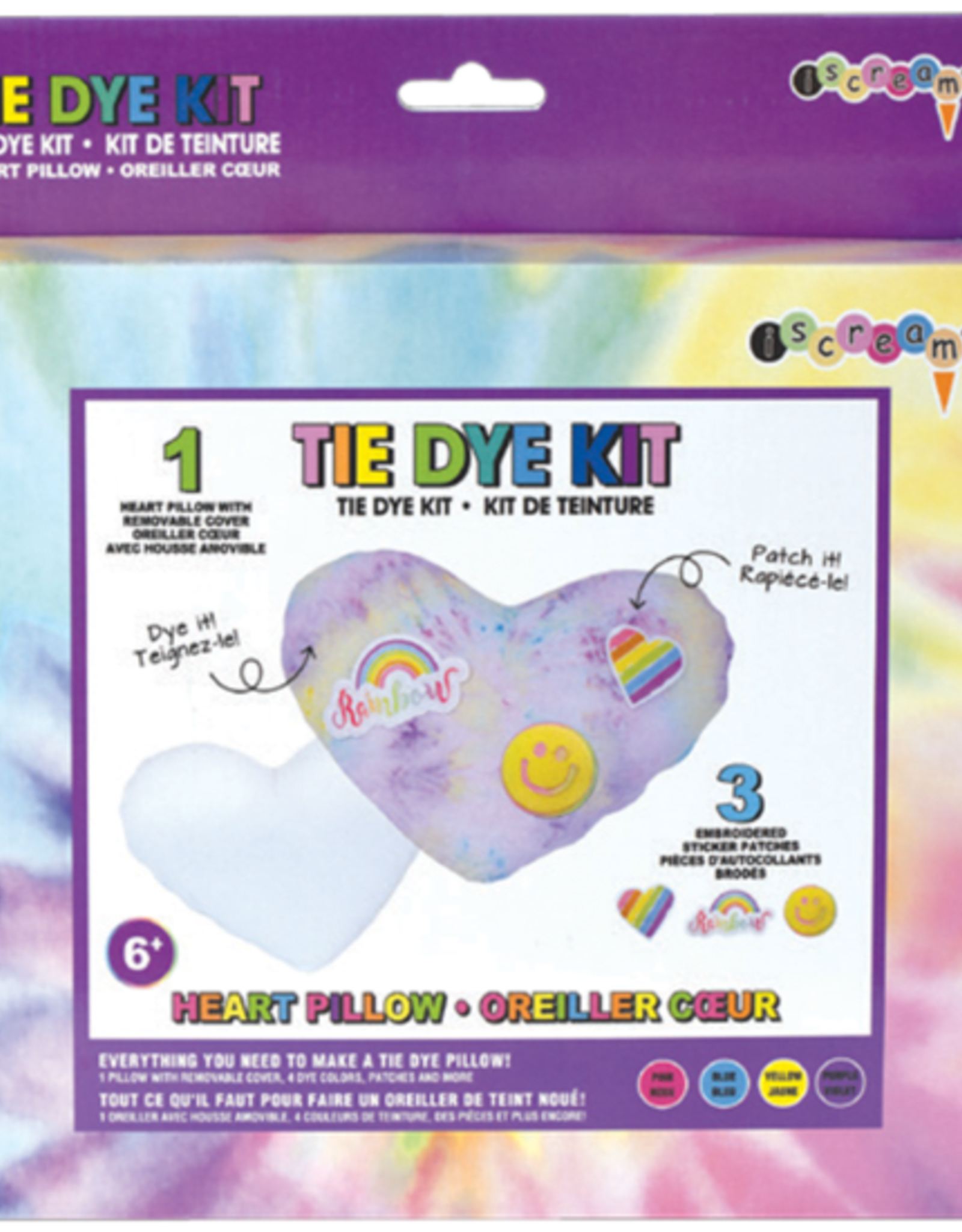 Iscream Heart Pillow With Patches Tie Dye Kit