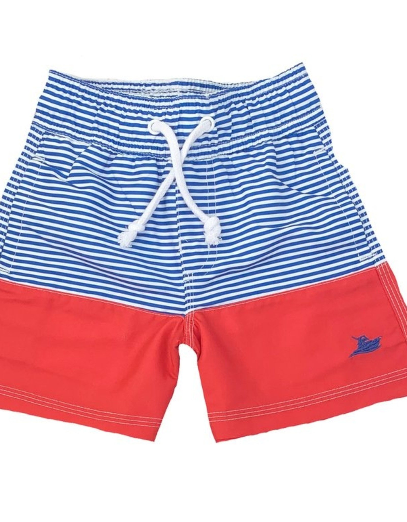 SouthBound Royal Stripe And Red Swim Trunks