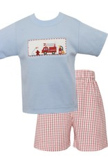 Anavini Firetruck Light Blue And Red Short Set