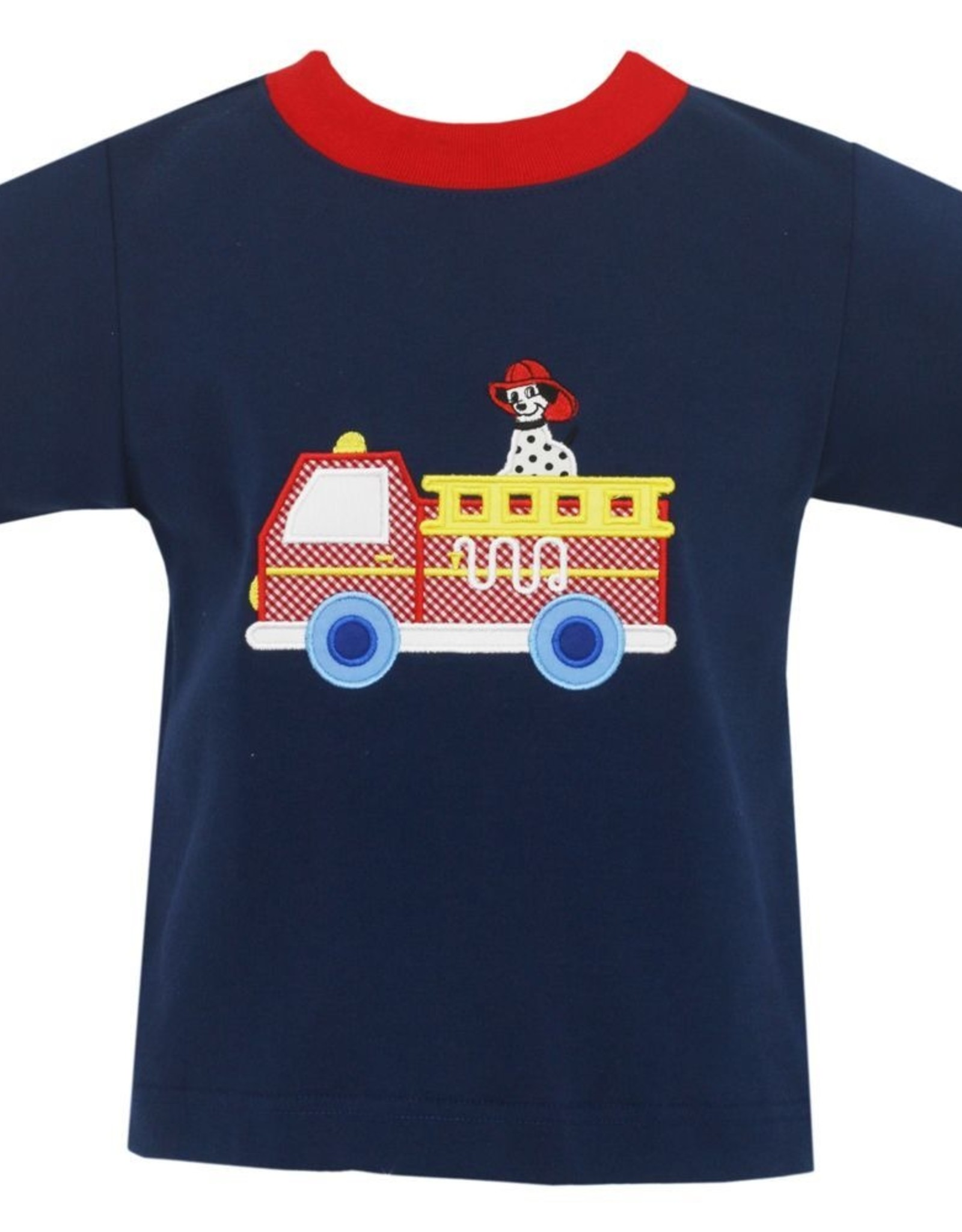 Claire and Charlie Navy Firetruck Short Set With Red Shorts