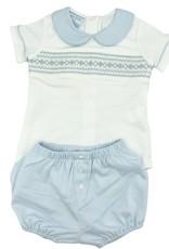 Petit Bebe Light Blue And White Geometric Knit Diaper Set