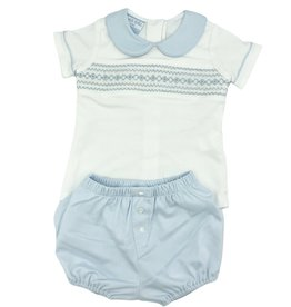 Petit Bebe Light Blue And White Geometric Knit Diaper Set