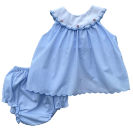 Petit Ami Blue Diaper Set With White Dots And White Collar