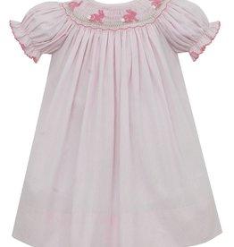 Petit Bebe Light Pink Stripe Bunnies Bishop Dress