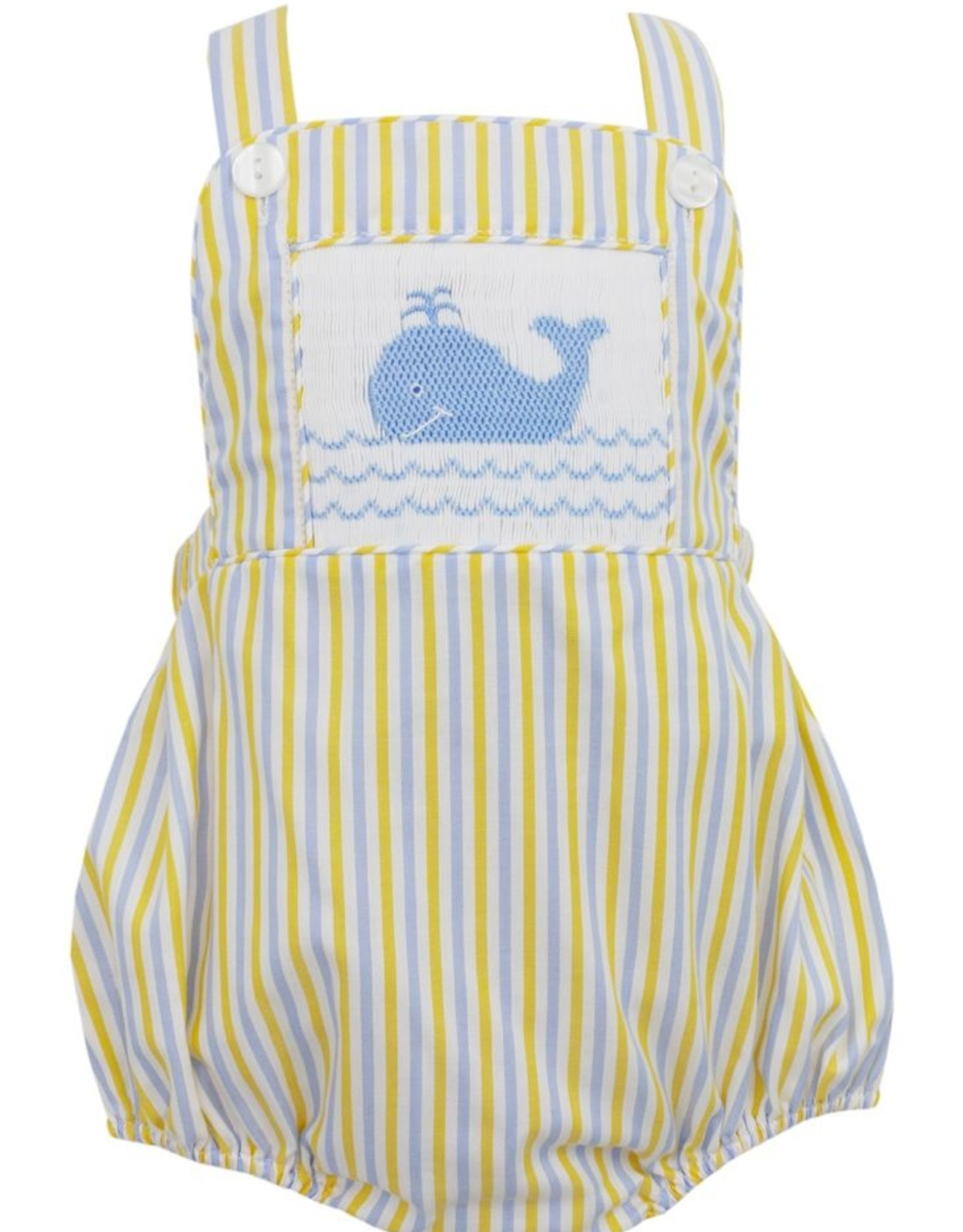 Anavini Boys Yellow / Blue Striped Smocked Whale Bubble