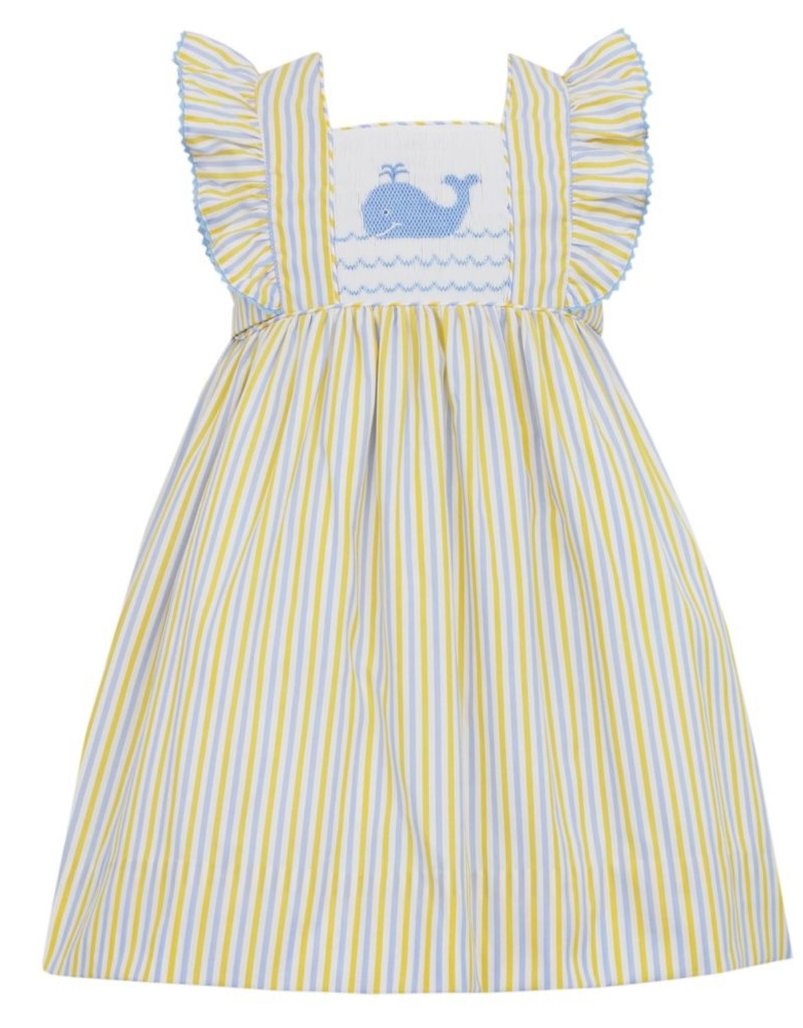 Anavini Girls Yellow / Blue Striped Smocked Whale Dress