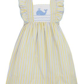 Anavini Girls Yellow / Blue Striped Smocked Whale Dress