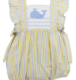 Anavini Girls Yellow / Blue Striped Smocked Whale Bubble