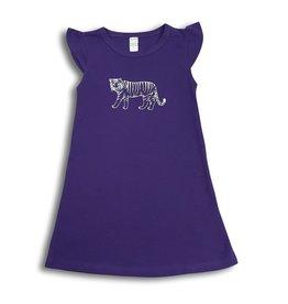Honey Bee Tees Tiger Short Sleeve Purple Dress