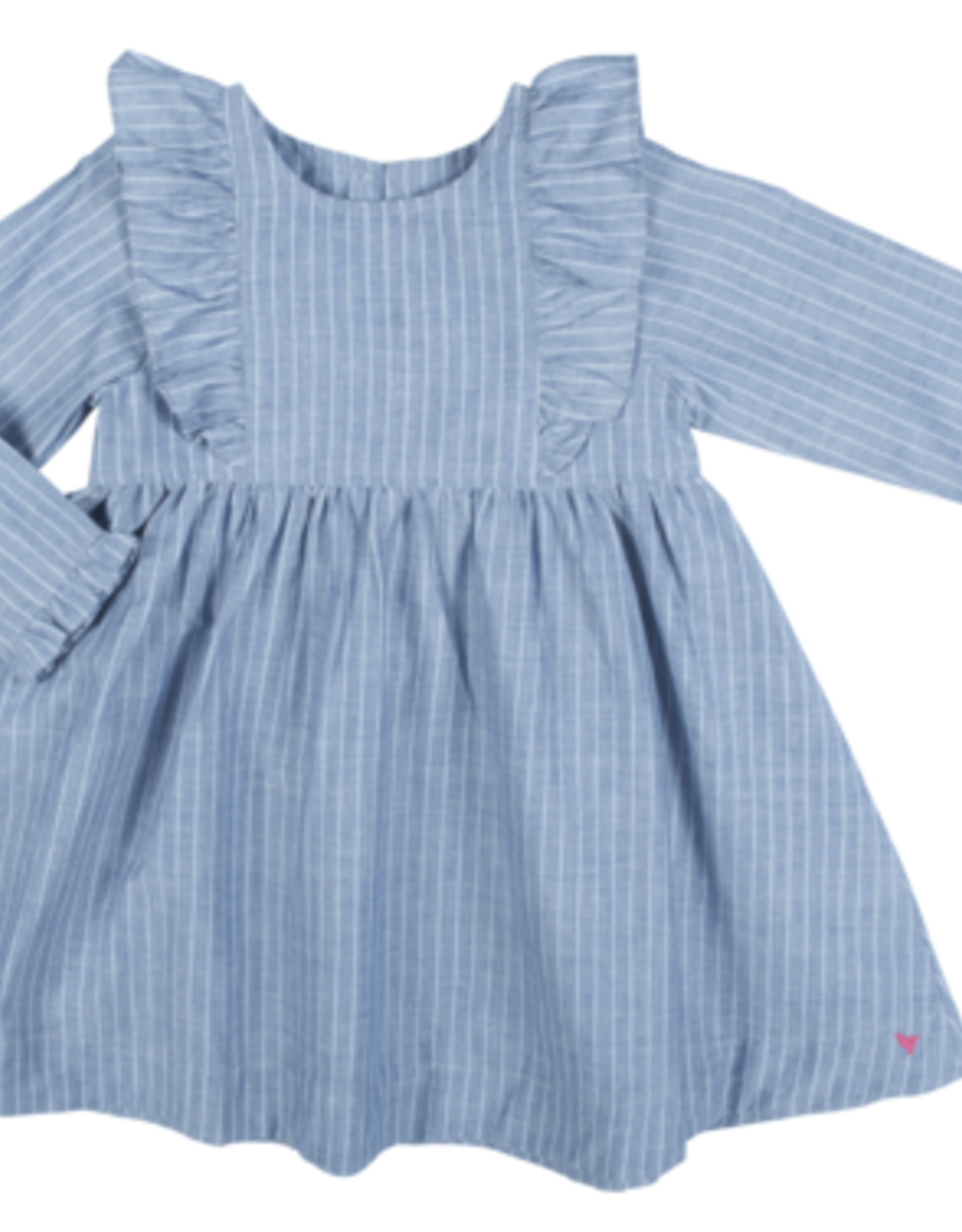Pink Chicken Kylie dress blue/white pinstripe chambray