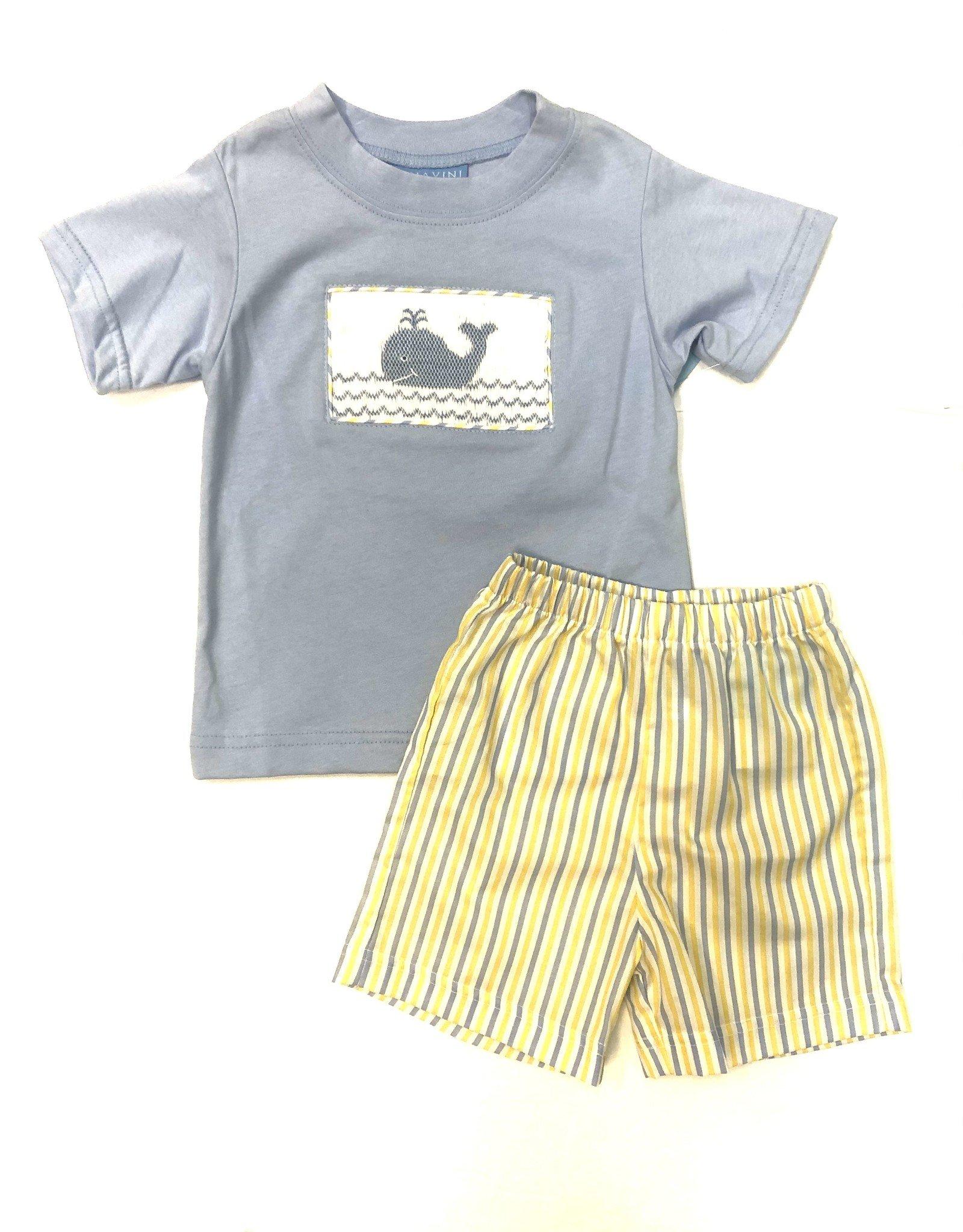 Anavini Boys Yellow / Blue Striped Smocked Whale Short Set