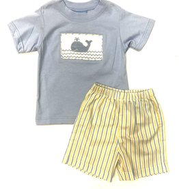 Anavini Boys Yellow / Blue Striped Smocked Whale Short Set