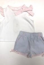 LullabySet Angel Blouse W/ Seersucker Bow Shorts