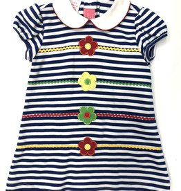 Claire and Charlie Royal Blue Stripe Flowers Float Dress