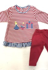 Claire and Charlie Princess With Castle Long Sleeve Legging Set