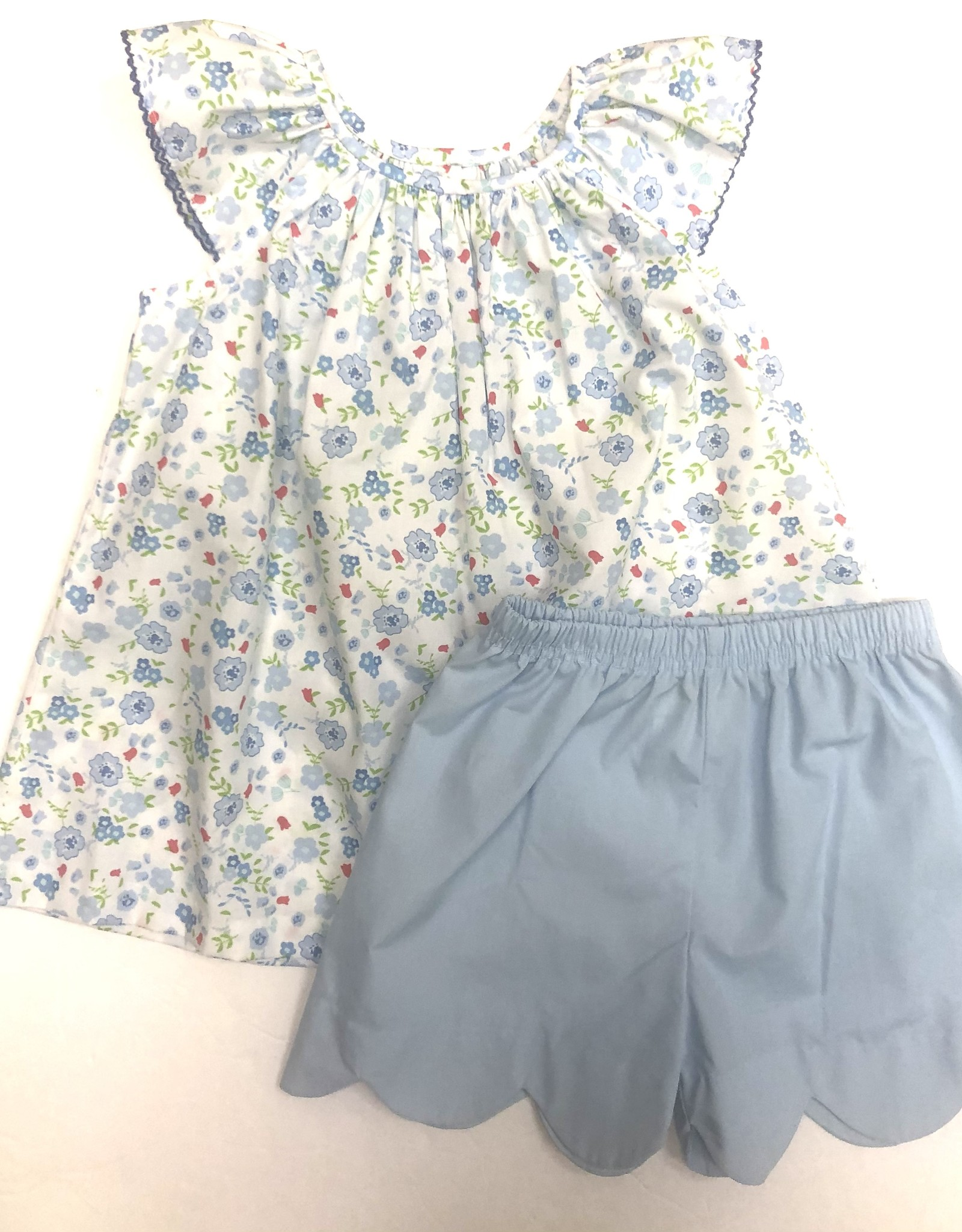 Zuccini Blue Sky Floral Elaine Blouse With Scalloped Shorts