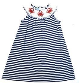 Anavini Blue Stripe Knit Crab Bishop Dress