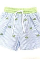 Anavini Alligator Swim Shorts Lt Blue Seersucker