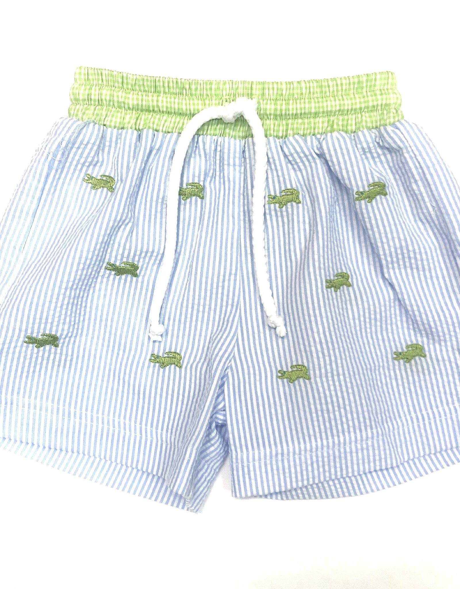 Anavini Alligator Swim Shorts Lt Blue Seersucker
