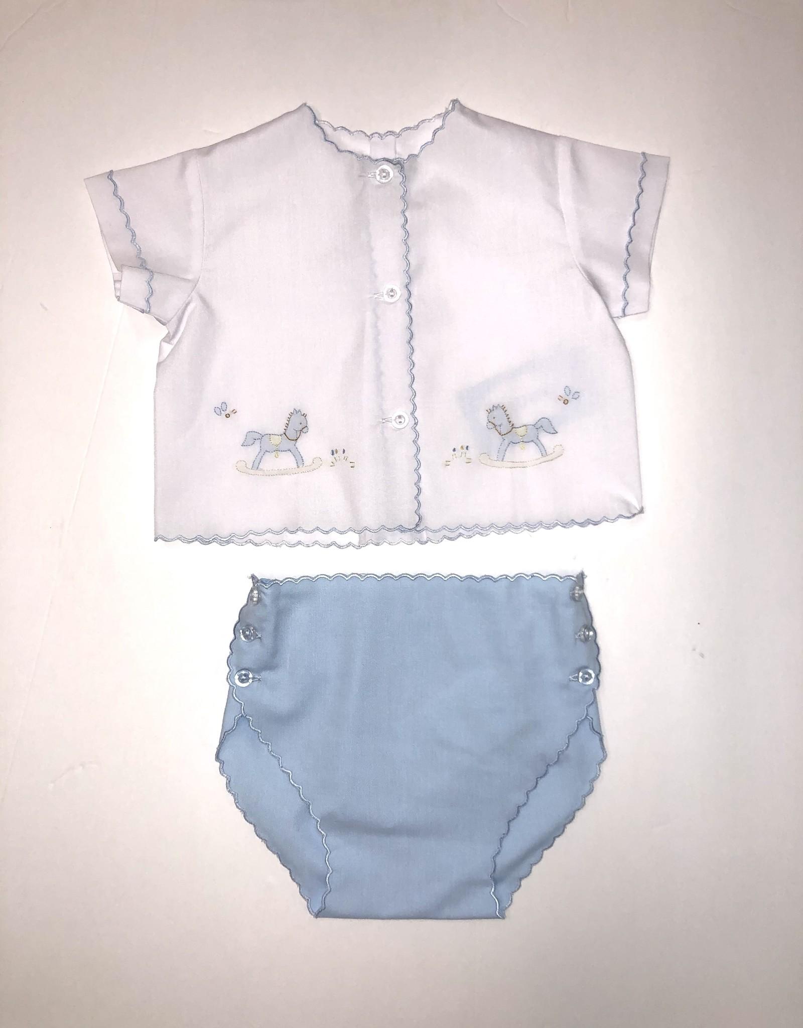 Auraluz Blue Rocking Horse Diaper Set