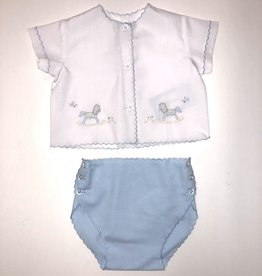 Auraluz Blue Rocking Horse Diaper Set