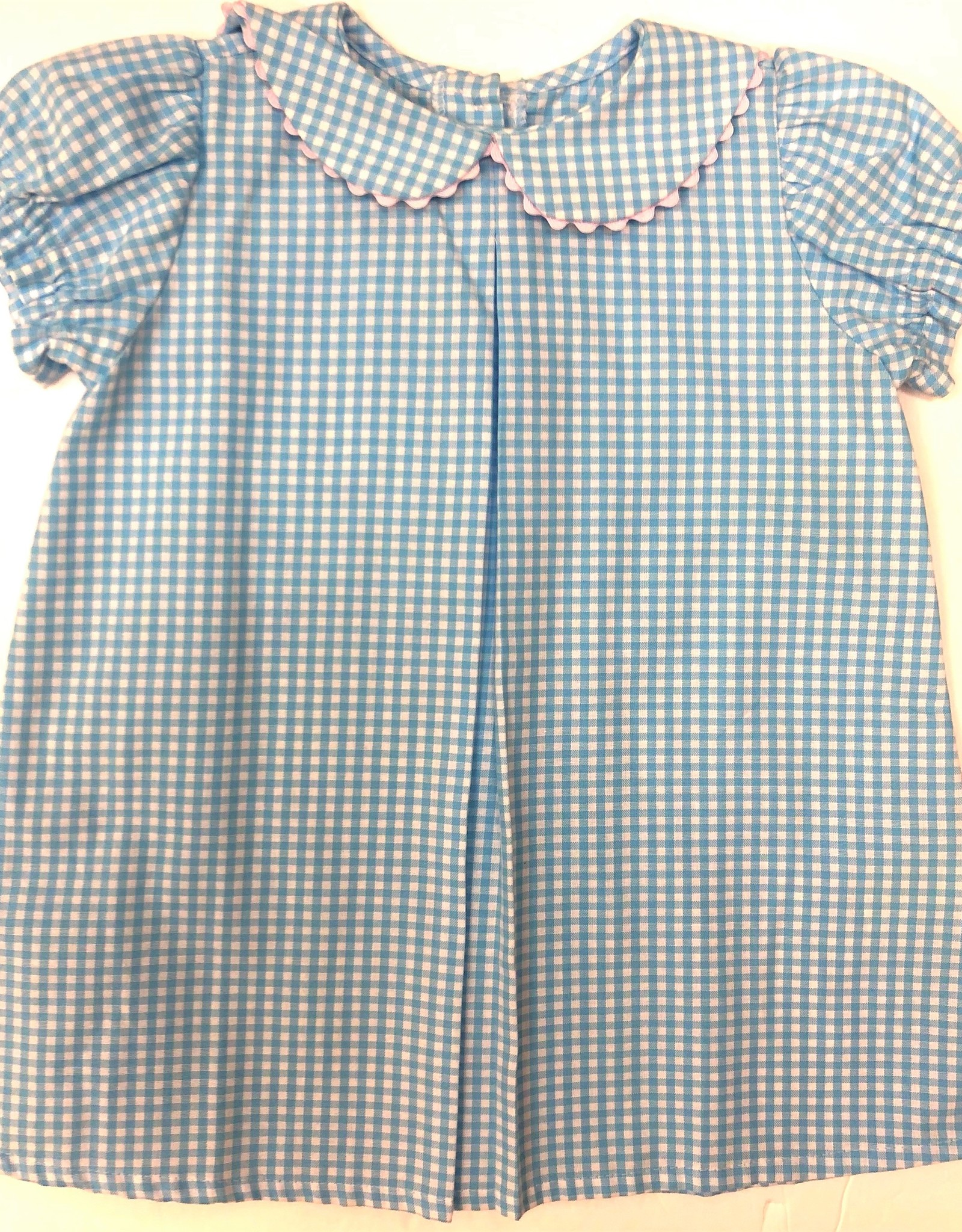 Peggy Green Pond Gingham With Pink Day Dress
