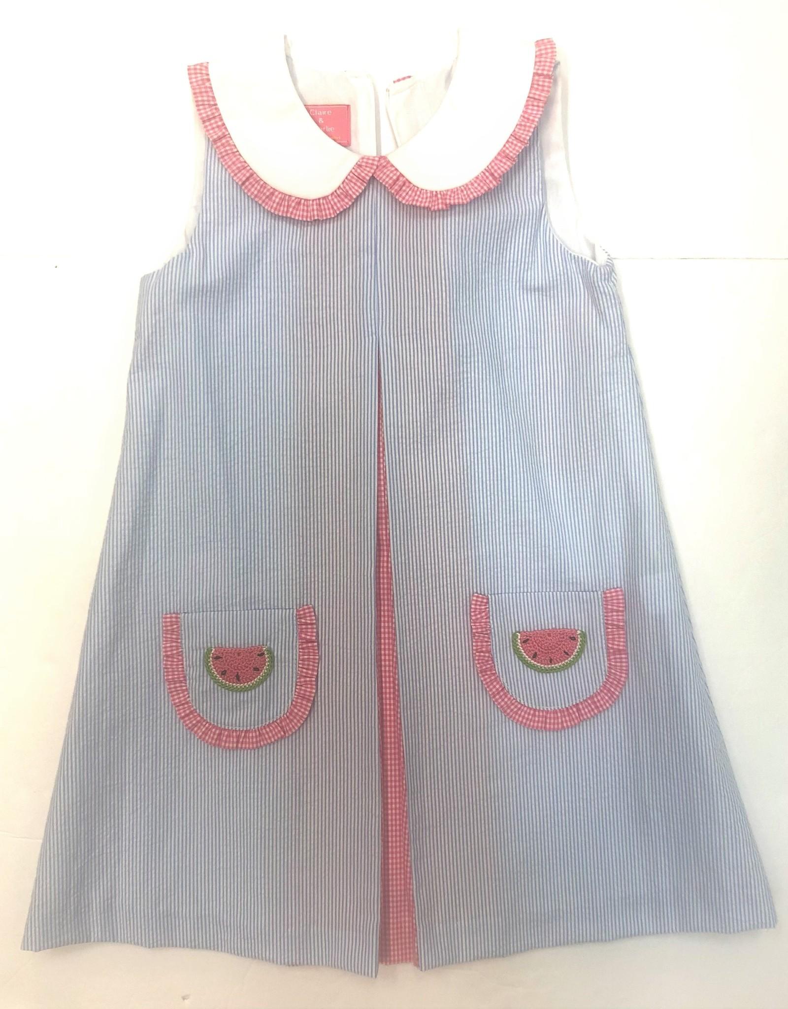 Claire and Charlie Blue Seersucker Watermelon Dress W/ Pleats & Pockets