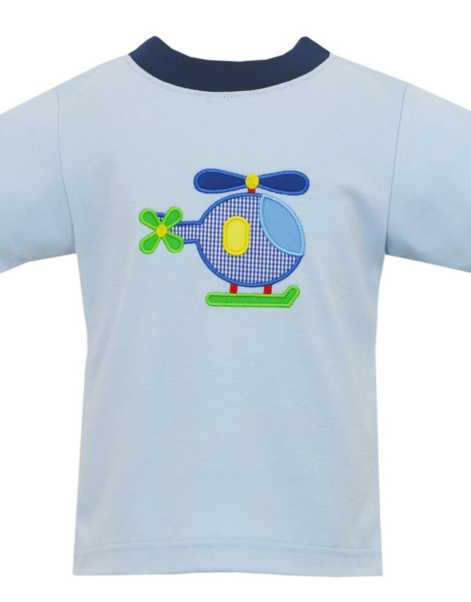 Claire and Charlie Helicopter Applique Shirt Lt Blue
