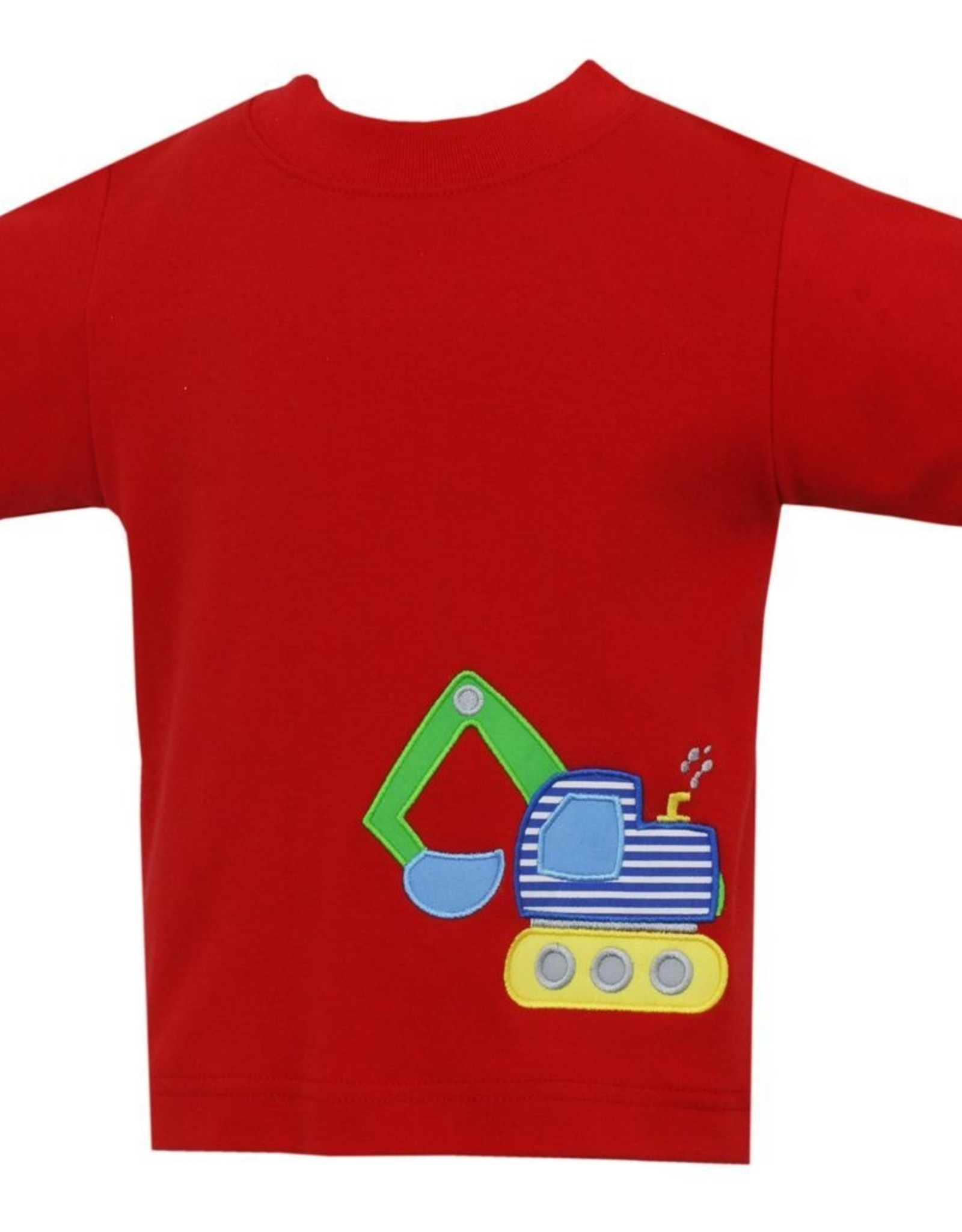 Claire and Charlie Excavator Applique Shirt Red