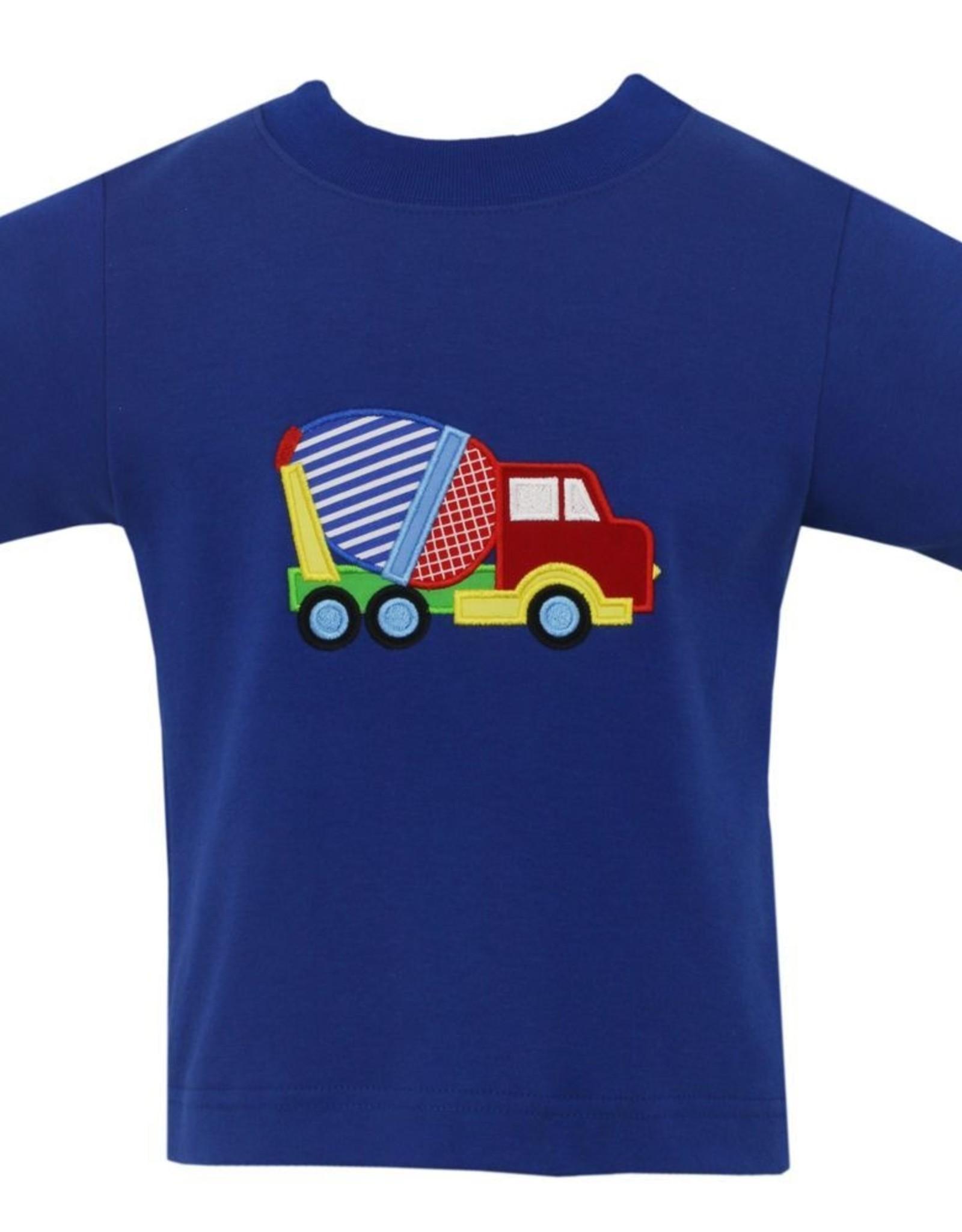 Claire and Charlie Concrete Mixer Applique Shirt Royal Blue