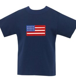 Claire and Charlie American Flag Applique Shirt Navy