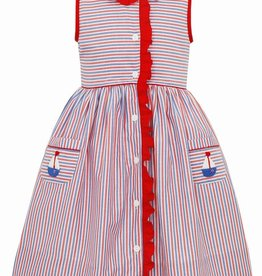Claire and Charlie Sailboat Sleeveless Dress w/ Ruffle