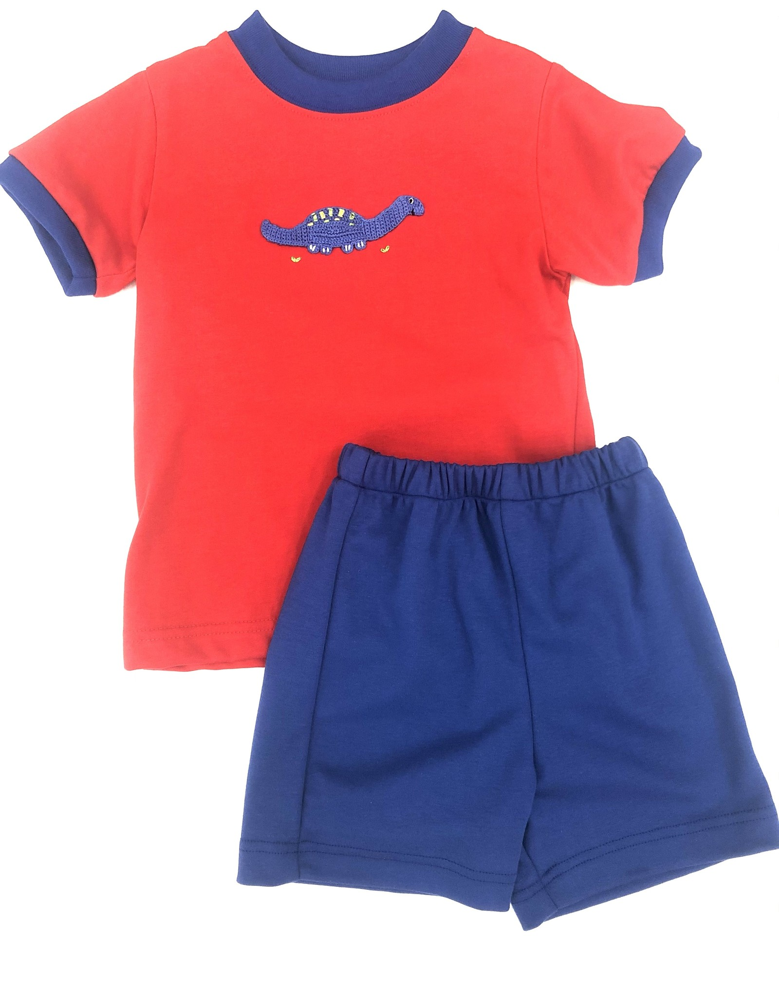 Claire and Charlie Crochet Dino Short Set Royal Blue/Red