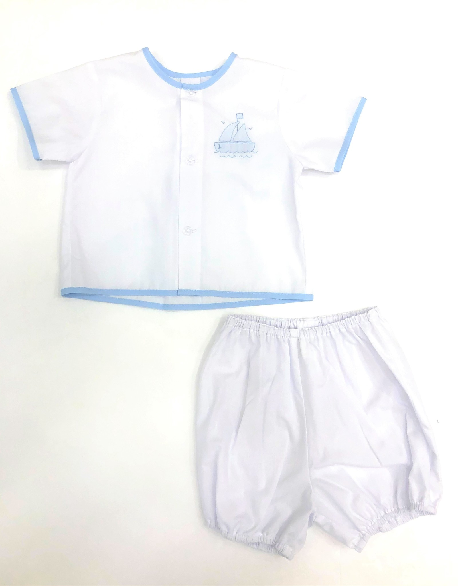 Auraluz 2 PC Embroidered Boat Boy Set White/Blue