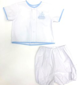 Auraluz 2 PC Embroidered Boat Boy Set White/Blue