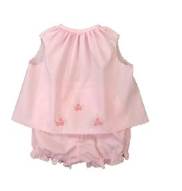 Auraluz 2 Pc Pink Diaper Set w/ Embroidery