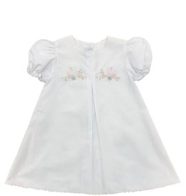Auraluz Embroidered White/Pink Bird Dress