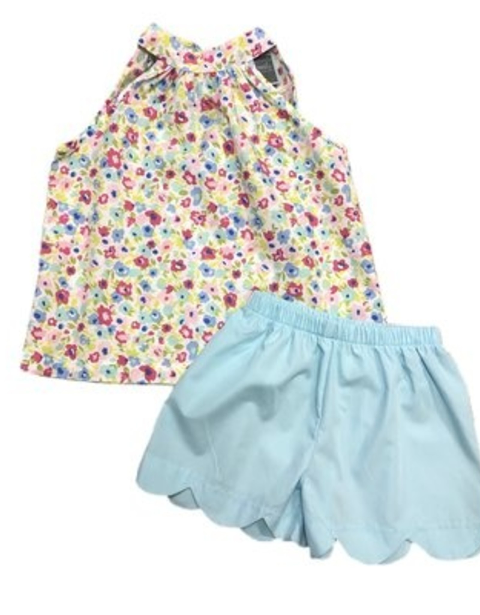 Honesty Aqua Floral Tie Neck Short Set