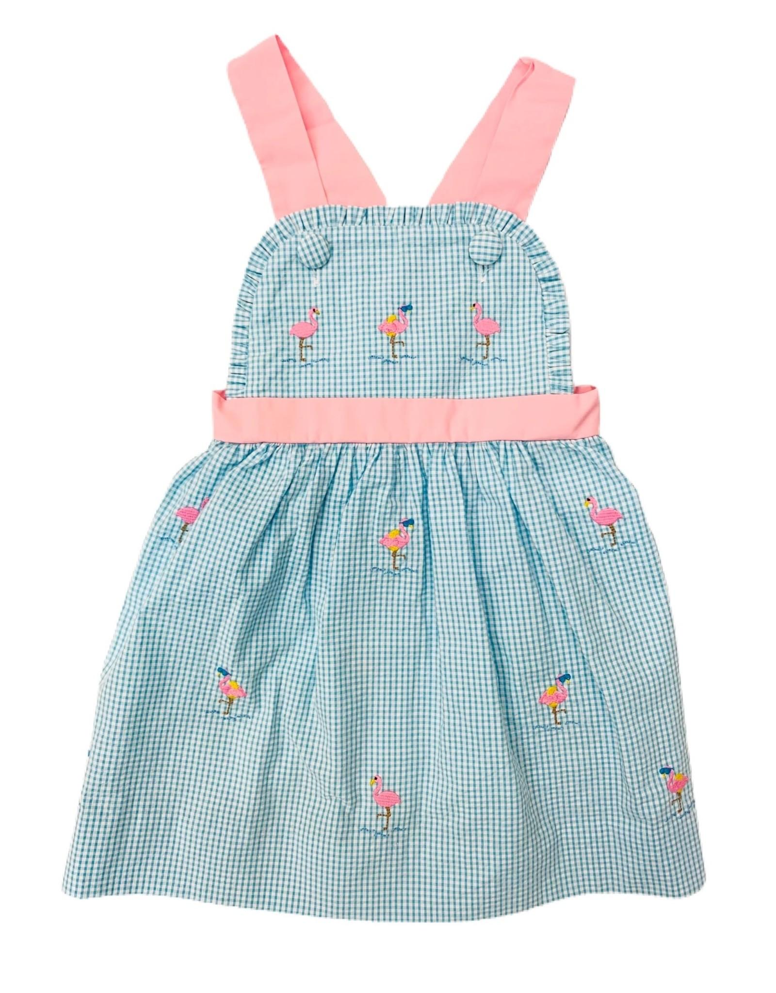 Zuccini Seersucker Mini Gingham Flamingo Bibbie Dress