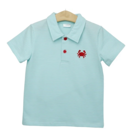 Trotter Street Kids Crab Embroidered Polo Blue Stripe