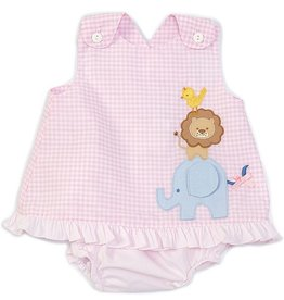 Petit Ami Pink Gingham Safari Bloomer Set