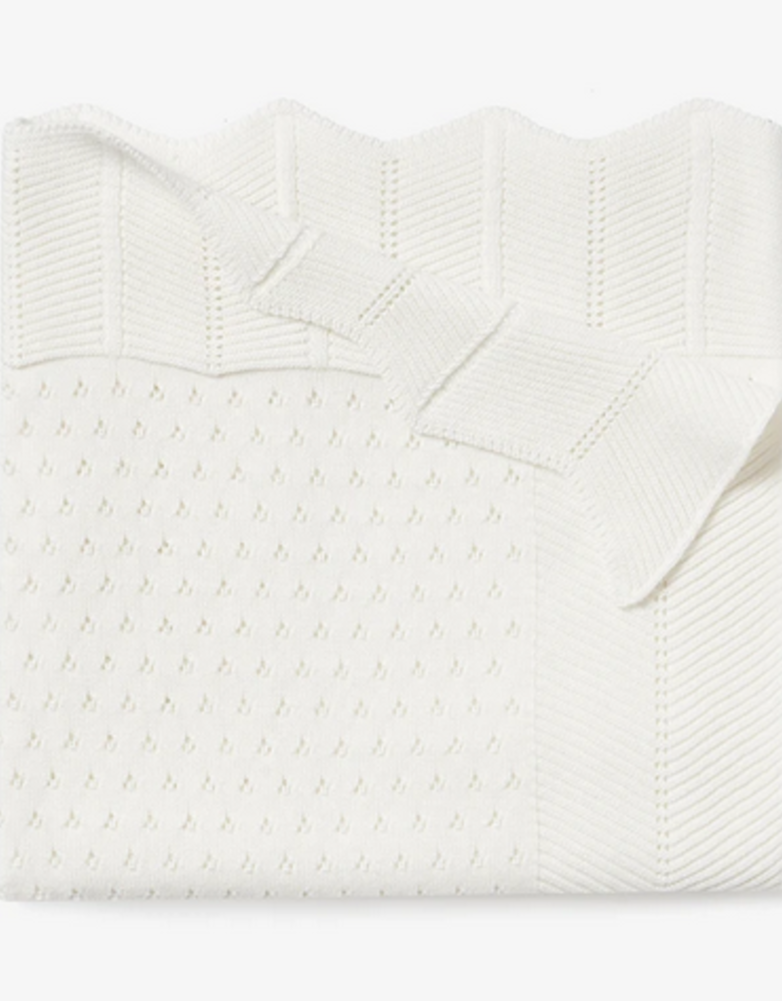 Elegant Baby Cream Pointelle Cotton Knit Baby Blanket