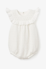Elegant Baby Pointelle Knit Baby Bubble, White