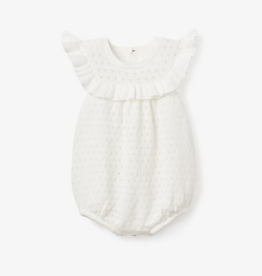 Elegant Baby Pointelle Knit Baby Bubble, White