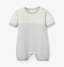 Elegant Baby Mini Stripe Shortall Baby Romper, Cloud Blue