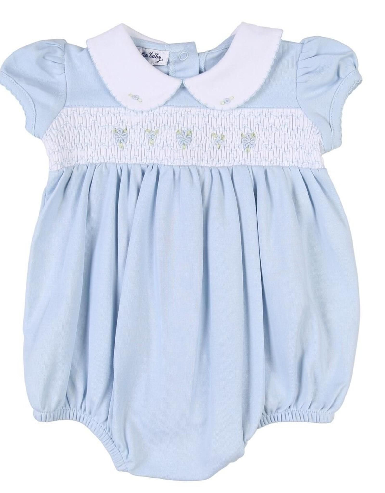 Magnolia Baby Elena & Elia's Smocked Collared Girls Bubble - Blue